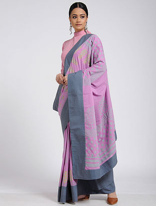 Pink-Grey Block-printed Cotton Saree