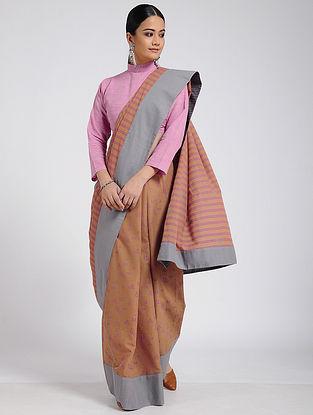 Brown-Grey Block-printed Cotton Saree