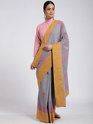 Grey-Pink Block-printed Cotton Saree