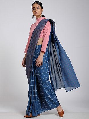 Blue-Ivory Block-printed Cotton Saree