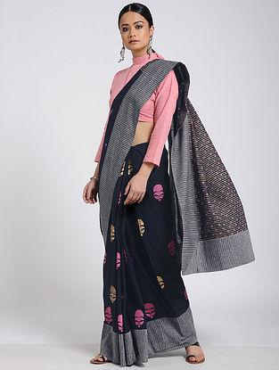 Black-Pink Block-printed Cotton Saree