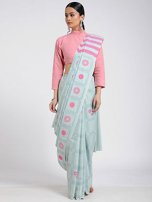 Sea Green-Pink Block-printed Cotton Saree