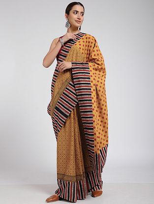 Yellow-Red Block-printed Cotton Saree