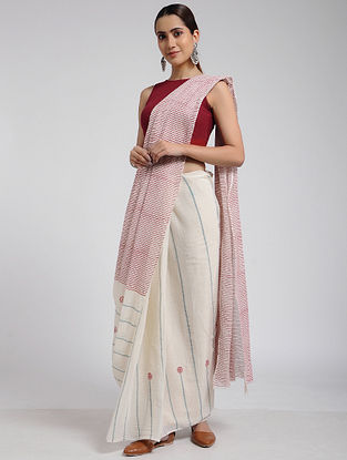 Ivory-Red Block-printed Cotton Saree