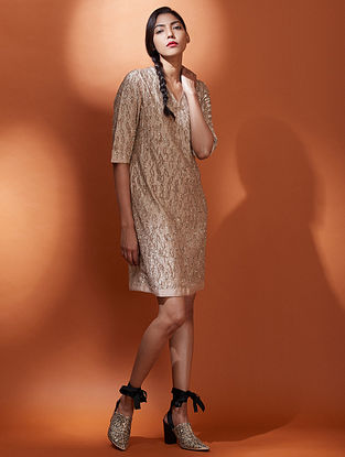 Jugnu Beige Gold Silk Crepe Dress with Sequins Embroidery
