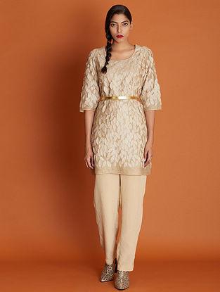 Patjhad Beige Embroidered Silk Cotton Dress