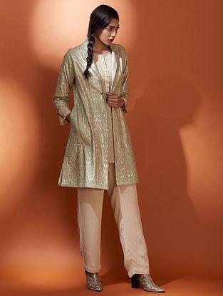 Jaal Beige Embroidered Metallic Cotton Jacket