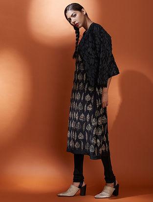 Patjhad Black Embroidered Silk Cotton Jacket