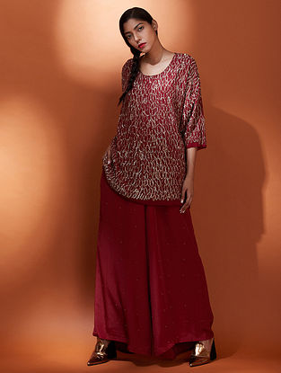 Jugnu Madder Gold Silk Crepe Tunic with Sequins Embroidery