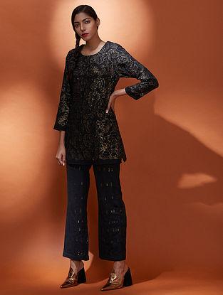 Sitara Black Gold Cotton Tunic with Sequins