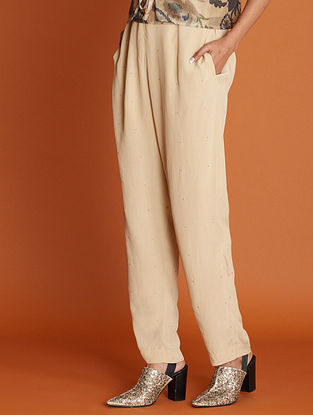 Lakeer Beige Gold Hand Embroidered Viscose Crepe Pants with Sequins