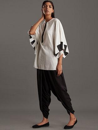 Ivory Black Block Printed Ecovero Viscose Tunic