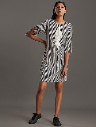 Ivory Black Block Printed Ecovero Viscose Dress
