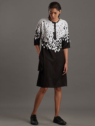 Black Ivory Block Printed Ecovero Viscose Dress with Leaf Applique