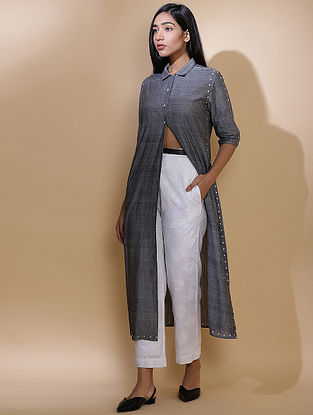 Grey Dot Embroidered Mangalagiri Cotton Jacket