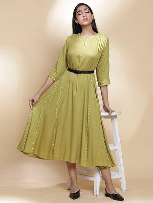 Amla Ivory Dot Embroidered Ecovero Viscose Dress