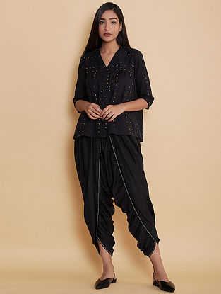 Black Dot Embroidered Cotton Kedia Top