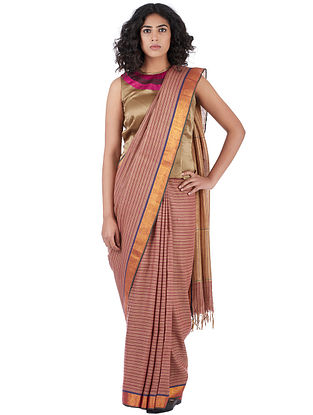 Pink Cotton-Linen Saree