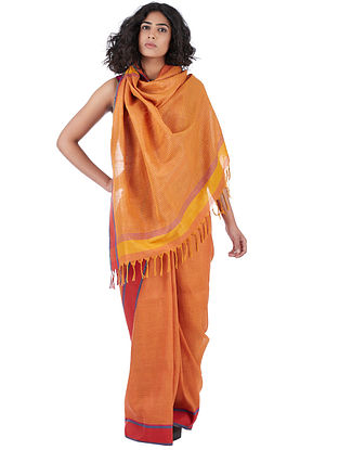 Orange-Pink Cotton-Linen Saree