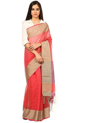 Pink Maheshwari Silk-Cotton Saree