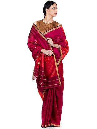 Magenta Mangalgiri Silk Saree
