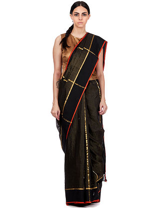 Black Maheshwari Silk-Cotton Saree