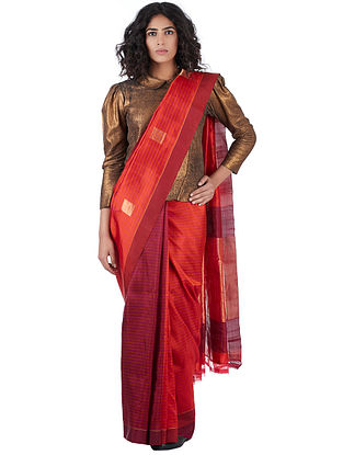 Red-Magenta Silk Jamdani Saree