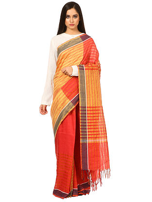 Yellow-Red Cotton Linen Saree