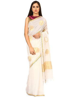Ivory Cotton Silk Saree