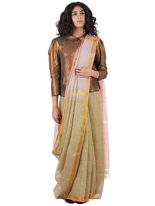 Beige-Pink Cotton Linen Saree