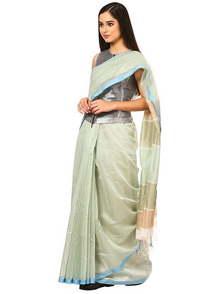 Ivory-Green Maheshwari Silk-Cotton Saree
