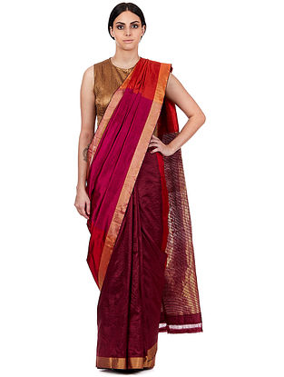 Magenta-Red Maheshwari Silk-Cotton Saree