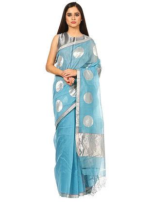 Blue Maheshwari Silk-Cotton Saree