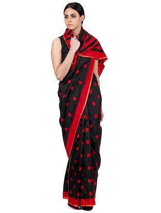 Black-Red Handwoven Double Ikat Silk Saree