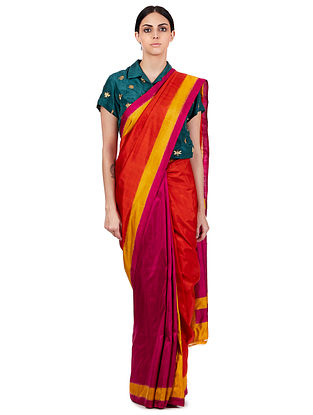 Orange-Purple Handwoven Double Ikat Silk Saree