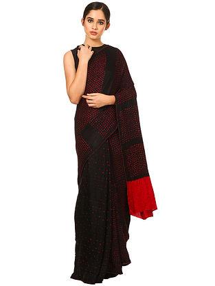 Black-Red Bandhani Gajji Silk Saree