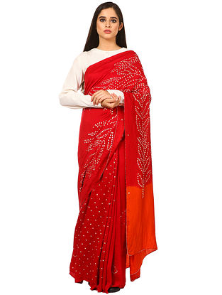 Red-Orange Bandhani Gajji Silk Saree