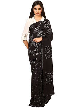 Black-White Bandhani Gajji Silk Saree