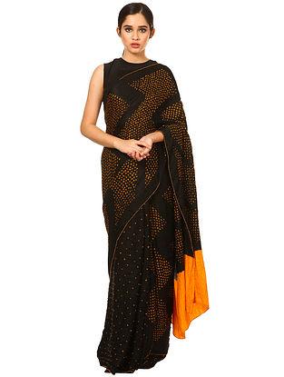 Black-Yellow Bandhani Gajji Silk Saree