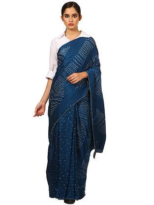 Blue-White Bandhani Gajji Silk Saree