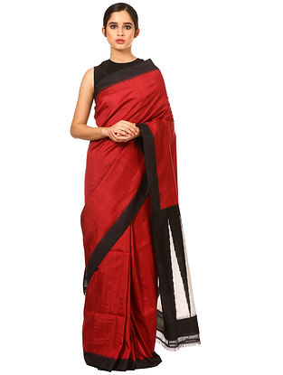 Red-Black Handwoven Double Ikat Silk Saree