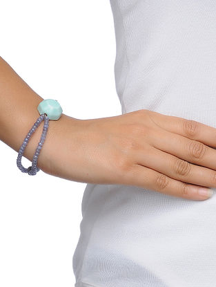 Grey-Blue Beaded Ceramic Bracelet