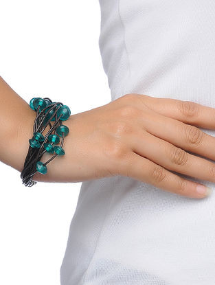 Green Leather Bracelet with Beads