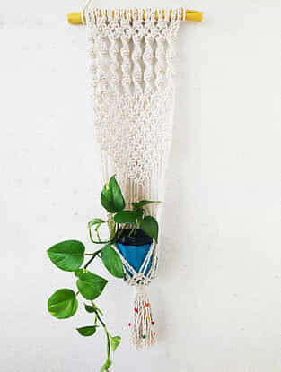 Off-White Macrame Cotton Pot Holder with Wood Beads (40in x 12.5in)