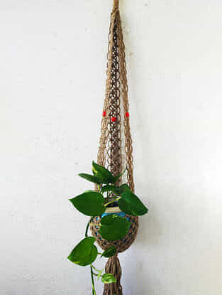 Brown Macrame Jute Pot Holder with Wood Beads (47in x 9in)