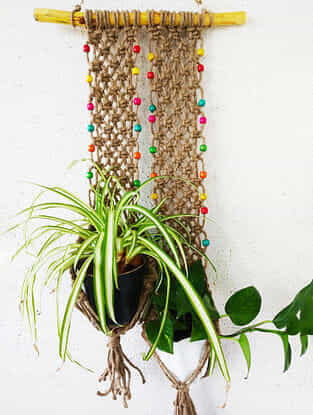 Brown Macrame Jute Pot Holder with Wood Beads (38in x 14in)