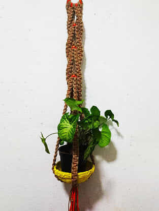 Brown Macrame Jute and Polyester Pot Holder with Wood Beads (42in x 3.5in)