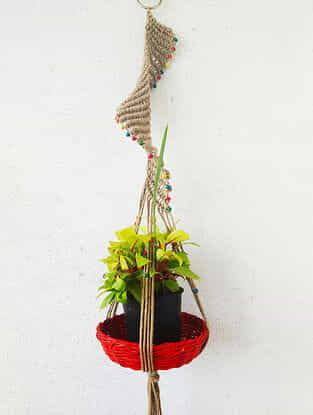 Brown Macrame Jute Pot Holder with Wood Beads (46in x 3in)