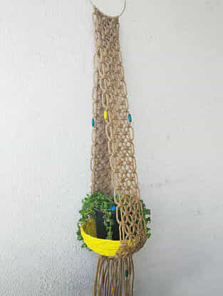 Brown Macrame Jute Pot Holder with Wood Beads (46in x 5.5in)