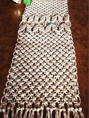 Brown and Off White Macrame Jute Runner (57in x 9in)
